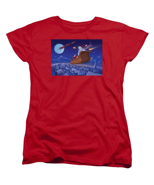 Women's T-Shirt (Standard Cut) featuring the painting Santa's Helper by Michael Humphries