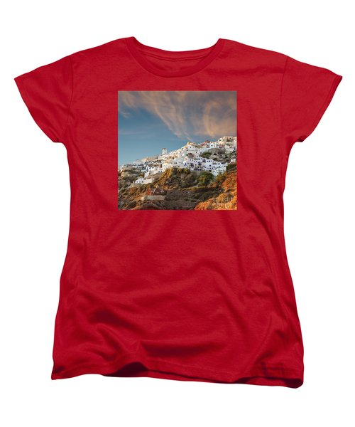 Santorini Windmill At Dusk Women's T-Shirt (Standard Cut) by Antony McAulay