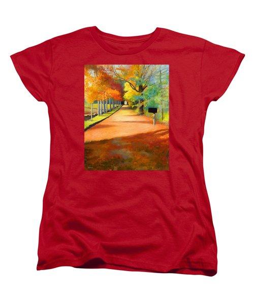 Sawmill Road Autumn Vermont Landscape Women's T-Shirt (Standard Cut) by Catherine Twomey
