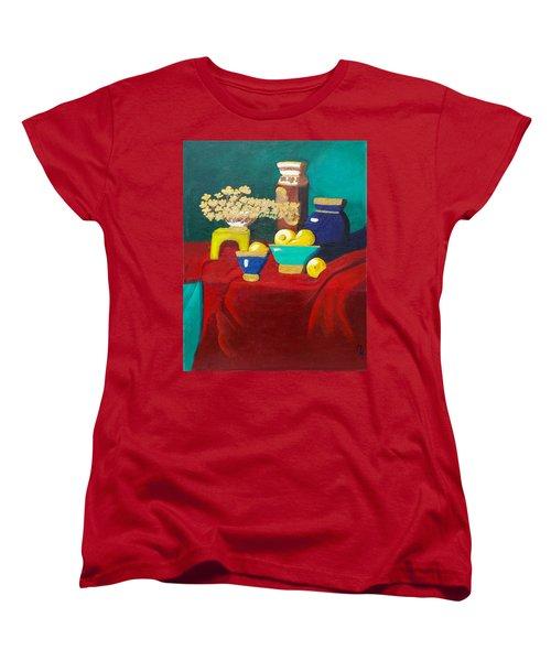 Seafoam Green On Red Velvet Women's T-Shirt (Standard Cut) by Margaret Harmon