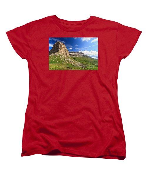 Women's T-Shirt (Standard Cut) featuring the photograph Sella Mountain And Pordoi Pass by Antonio Scarpi