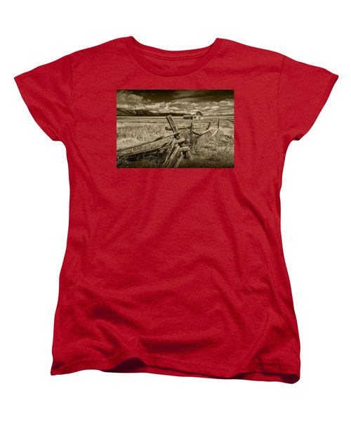 Sepia Colored Photo Of A Wood Fence By The John Moulton Farm Women's T-Shirt (Standard Cut)