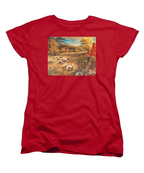 Women's T-Shirt (Standard Cut) featuring the painting Sheep In October's Field by Joy Nichols