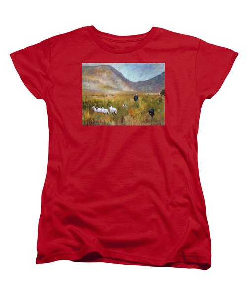 Women's T-Shirt (Standard Cut) featuring the drawing Shepherd And Sheep In The Valley  by Viola El