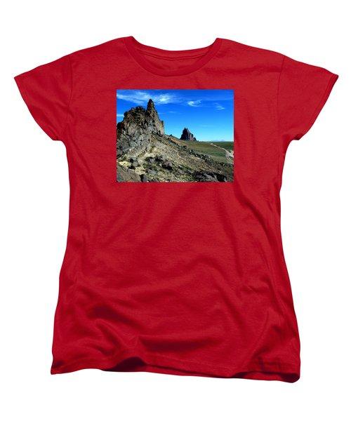 Women's T-Shirt (Standard Cut) featuring the photograph Shiprock by Alan Socolik