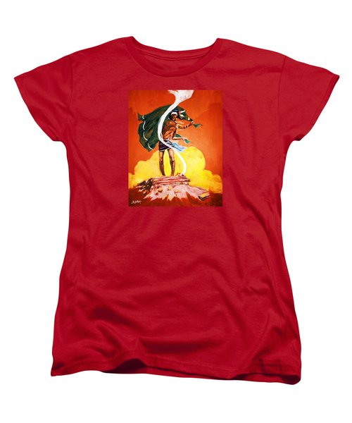 Women's T-Shirt (Standard Cut) featuring the painting Signal From The Mesa by Al Brown
