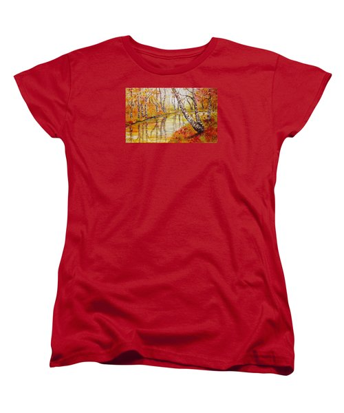 Women's T-Shirt (Standard Cut) featuring the painting Silence by Nina Mitkova
