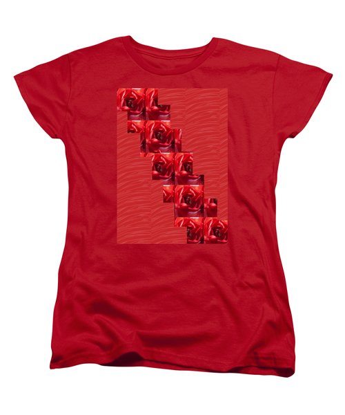 Women's T-Shirt (Standard Cut) featuring the photograph Silken Red Sparkles Redrose Across by Navin Joshi