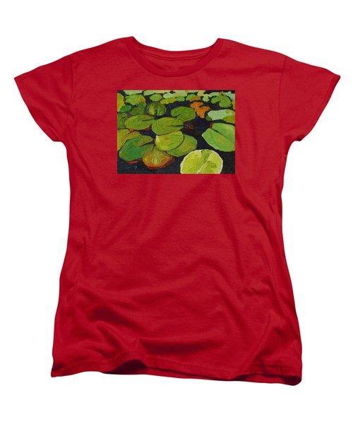 Singleton Lily Pads Women's T-Shirt (Standard Cut) by Phil Chadwick