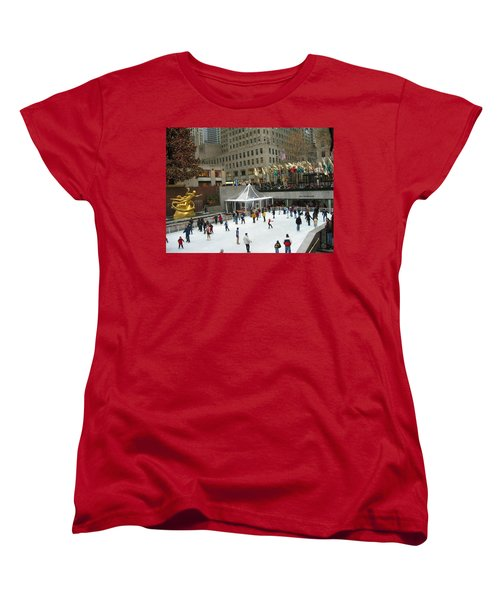 Skating In Rockefeller Center Women's T-Shirt (Standard Cut) by Judith Morris