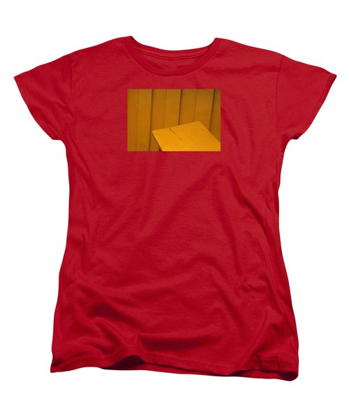Women's T-Shirt (Standard Cut) featuring the photograph Skc 1496 A Tea Shack Bench by Sunil Kapadia