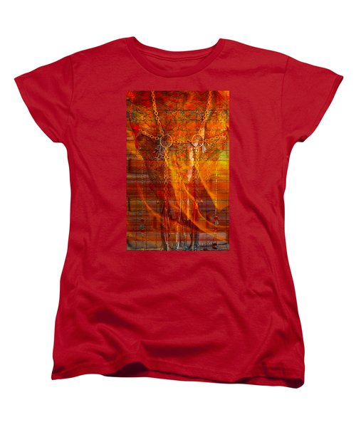 Skull On Fire Women's T-Shirt (Standard Cut) by Mayhem Mediums