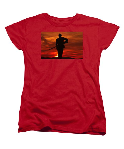 Women's T-Shirt (Standard Cut) featuring the photograph Sky Fire - 111th New York Infantry Hancock Avenue Brian Farm Cemetery Ridge Sunset Winter Gettysburg by Michael Mazaika
