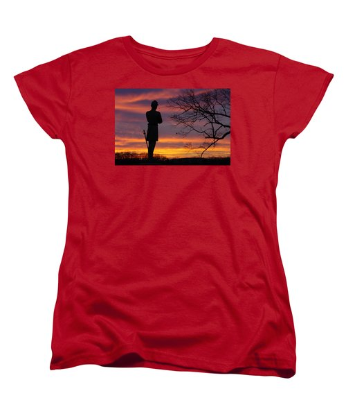 Women's T-Shirt (Standard Cut) featuring the photograph Sky Fire - 124th Ny Infantry Orange Blossoms-1a Sickles Ave Devils Den Sunset Autumn Gettysburg by Michael Mazaika
