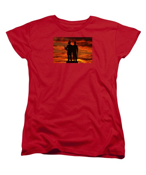 Sky Fire - 73rd Ny Infantry Fourth Excelsior Second Fire Zouaves-a1 Sunrise Autumn Gettysburg Women's T-Shirt (Standard Cut) by Michael Mazaika