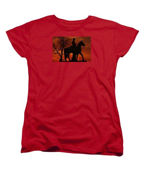 Women's T-Shirt (Standard Cut) featuring the photograph Sky Fire - 8th Pennsylvania Cavalry Regiment Pleasonton Avenue Sunset Autumn Gettysburg by Michael Mazaika