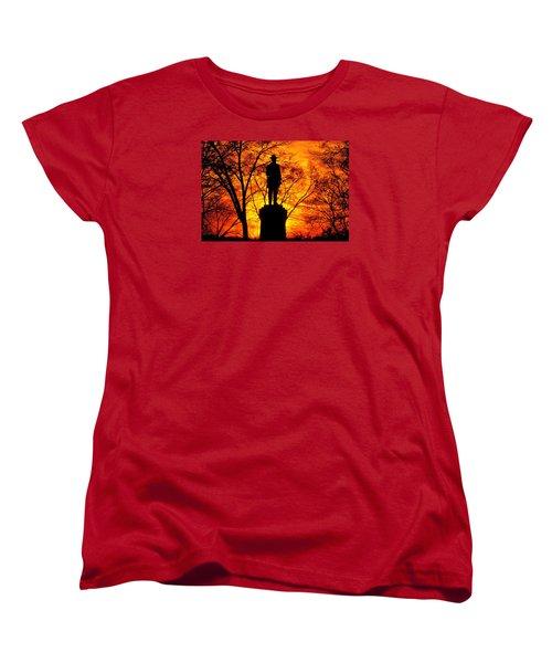Sky Fire - Flames Of Battle 50th Pennsylvania Volunteer Infantry-a1 Sunset Antietam Women's T-Shirt (Standard Cut) by Michael Mazaika