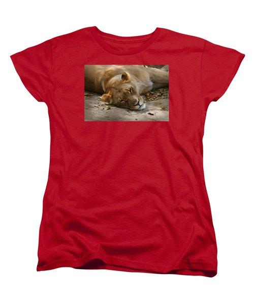Sleepy Lioness Women's T-Shirt (Standard Cut) by Ann Lauwers