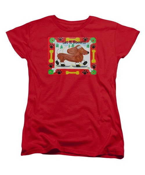 Women's T-Shirt (Standard Cut) featuring the painting Snow Dog by Diane Pape