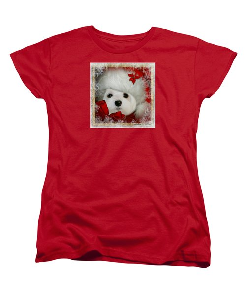 Snowdrop  And  Santa Hat Women's T-Shirt (Standard Cut) by Morag Bates