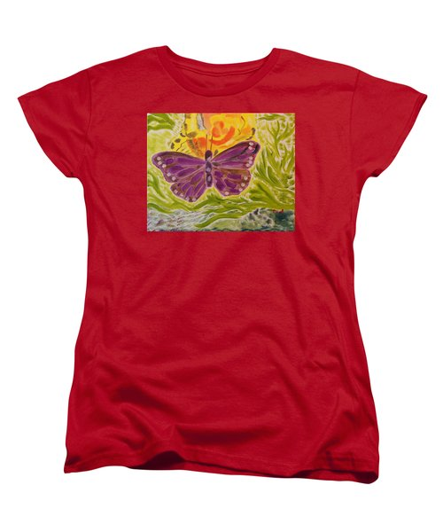 Women's T-Shirt (Standard Cut) featuring the painting Soft Flutters by Meryl Goudey