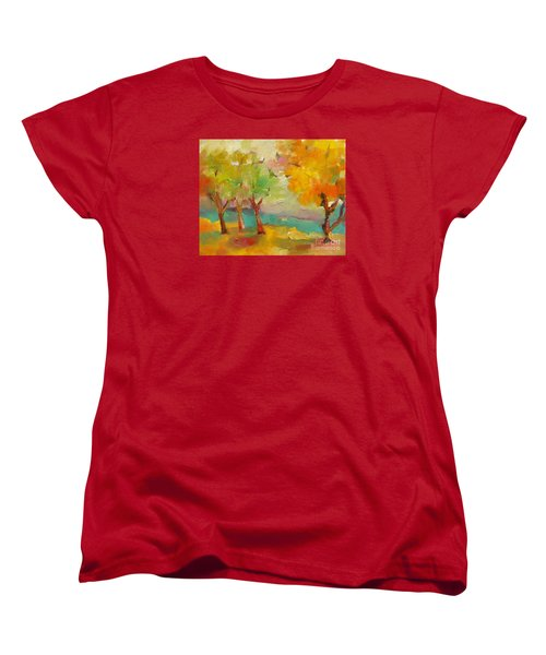 Women's T-Shirt (Standard Cut) featuring the painting Soft Trees by Michelle Abrams