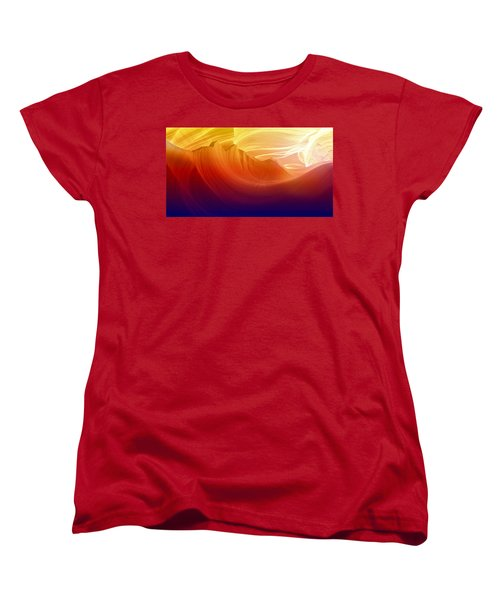 Women's T-Shirt (Standard Cut) featuring the photograph Somewhere In America Series - Colorful Light In Antelope Canyon by Lilia D