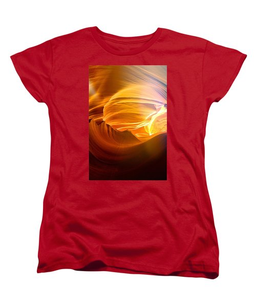Women's T-Shirt (Standard Cut) featuring the photograph Somewhere In America Series - Gold Colors In Antelope Canyon by Lilia D