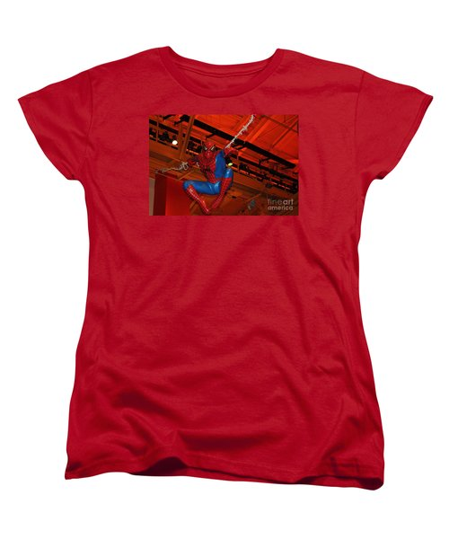 Spiderman Swinging Through The Air Women's T-Shirt (Standard Cut) by John Telfer