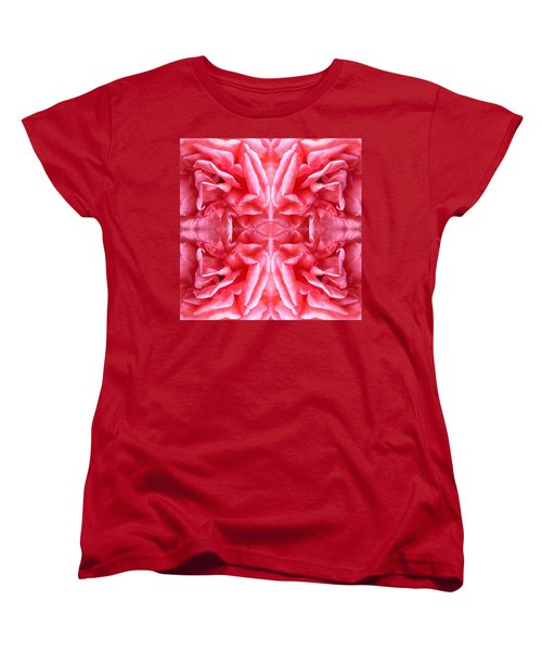 Women's T-Shirt (Standard Cut) featuring the photograph Square Petals Abstract Art Photo by Marianne Dow