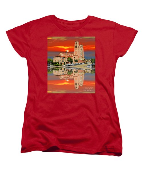 St Anne Church Of The Sunset In San Francisco With A Reflection  Women's T-Shirt (Standard Cut) by Jim Fitzpatrick