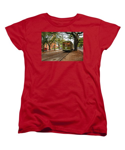 St. Charles Ave. Streetcar In New Orleans Women's T-Shirt (Standard Cut) by Kathleen K Parker