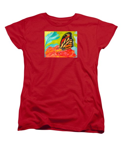 Women's T-Shirt (Standard Cut) featuring the painting Stained Glass Flutters by Meryl Goudey