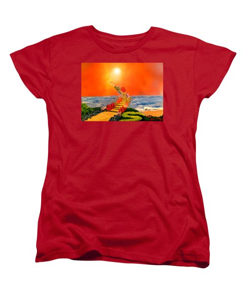 Women's T-Shirt (Standard Cut) featuring the painting Stairway To Heaven by Michael Rucker