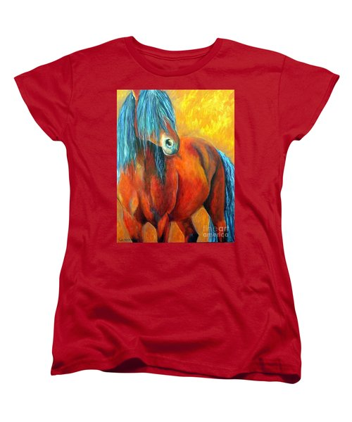 Women's T-Shirt (Standard Cut) featuring the painting Stallions Concerto  by Alison Caltrider
