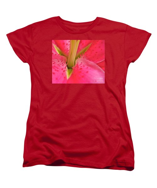 Women's T-Shirt (Standard Cut) featuring the photograph Stargazer Lily by Linda Bianic