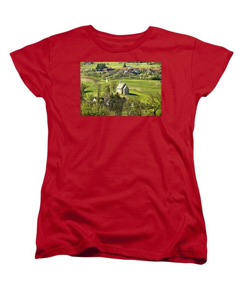 Stone Made Church In Green Nature Women's T-Shirt (Standard Cut) by Brch Photography