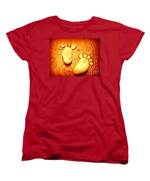 Women's T-Shirt (Standard Cut) featuring the photograph Stoney In The Rain by Clare Bevan