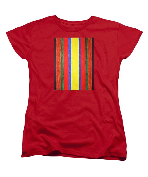 Women's T-Shirt (Standard Cut) featuring the painting Vertical Lines by Stormm Bradshaw