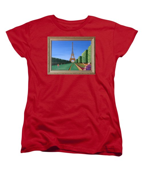Women's T-Shirt (Standard Cut) featuring the painting Summer In Paris by Ron Davidson