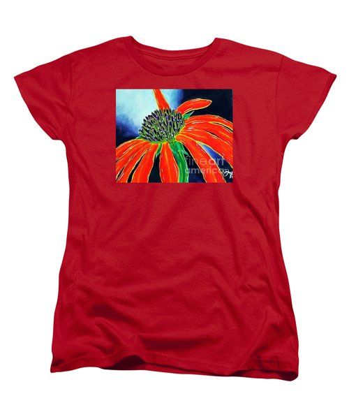 Women's T-Shirt (Standard Cut) featuring the painting Summer Kissed Cone Flower by Jackie Carpenter