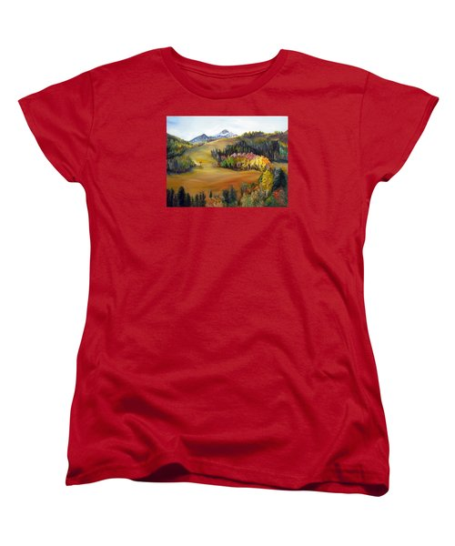 Women's T-Shirt (Standard Cut) featuring the painting Sundance And Mt. Timpanogos by LaVonne Hand