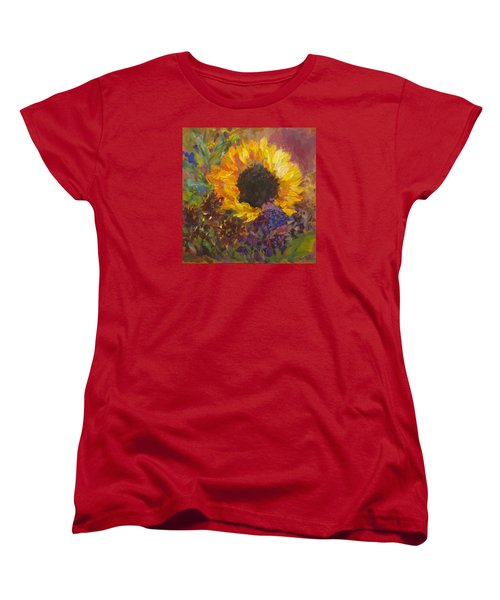 Sunflower Dance Original Painting Impressionist Women's T-Shirt (Standard Cut) by Quin Sweetman