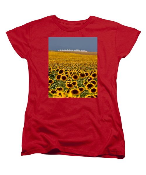 Women's T-Shirt (Standard Cut) featuring the photograph Sunflowers And Airports by Ronda Kimbrow