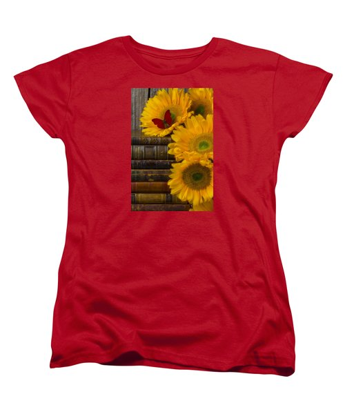 Sunflowers And Old Books Women's T-Shirt (Standard Cut) by Garry Gay