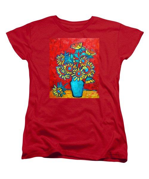 Sunflowers Bouquet Women's T-Shirt (Standard Cut) by Ana Maria Edulescu