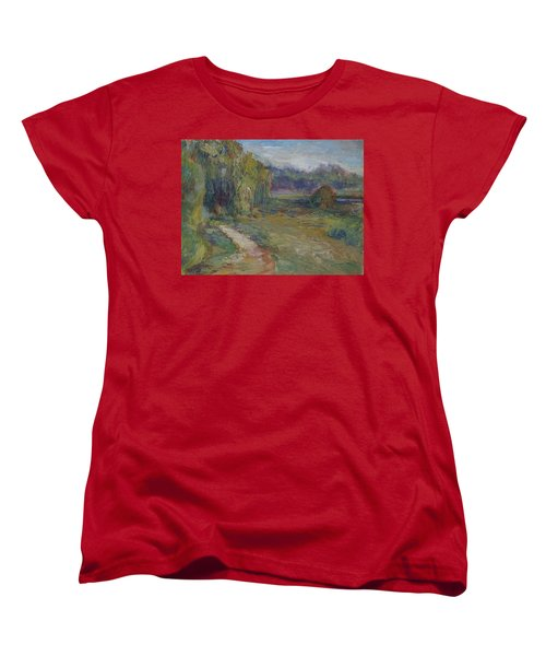 Sunny Morning In The Park -wetlands - Original - Textural Palette Knife Painting Women's T-Shirt (Standard Cut) by Quin Sweetman