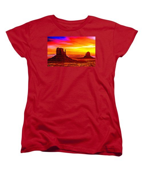 Sunrise Monument Valley Mittens Women's T-Shirt (Standard Cut) by Bob and Nadine Johnston