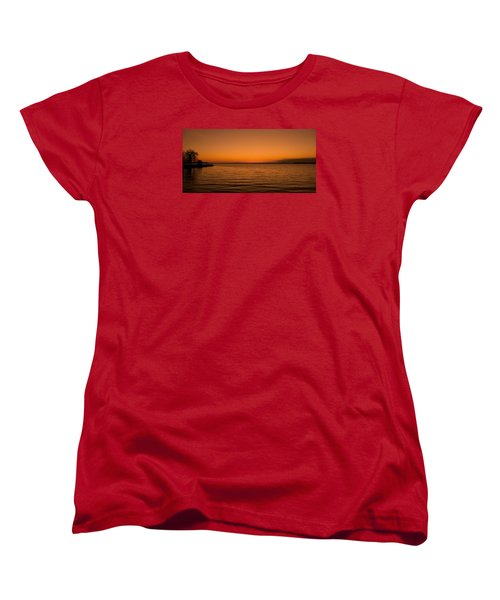 Women's T-Shirt (Standard Cut) featuring the photograph Sunrise Over The Lake Of Two Mountains - Qc by Juergen Weiss