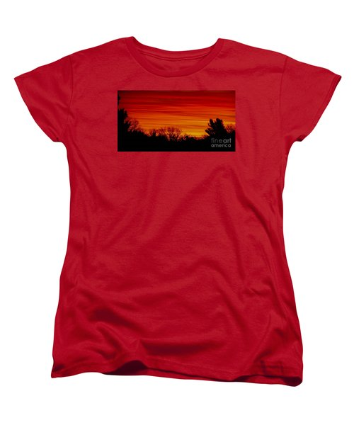 Women's T-Shirt (Standard Cut) featuring the photograph Sunrise Y-town by Angela J Wright